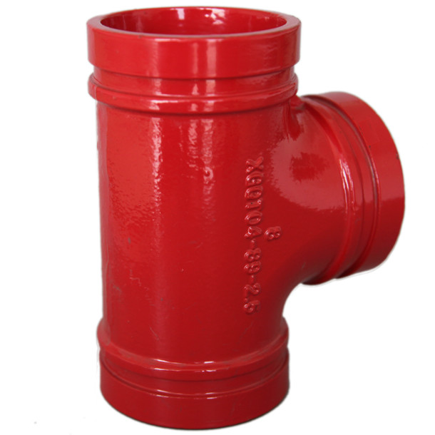 Anti Rust Ductile Iron Pipe Fittings Grooved Plumbing T Joint / Water Pipe T Joint